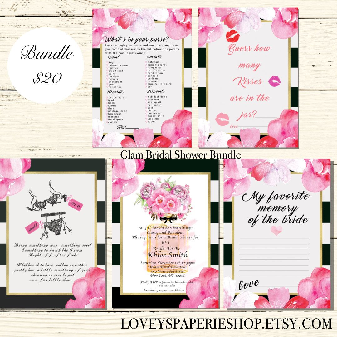 BRIDAL SHOWER Digital Invitation Bundle Blush Pink Peony Black and ...