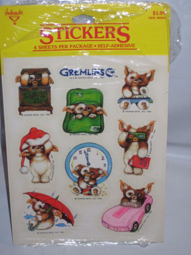 Gremlins sticker sheet vintage 80s rare hallmark gizmo mogwai character stickers hallmark sheet