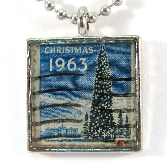Vintage US 1963 Christmas Postage Stamp Pendant Necklace by 12be, $14.50