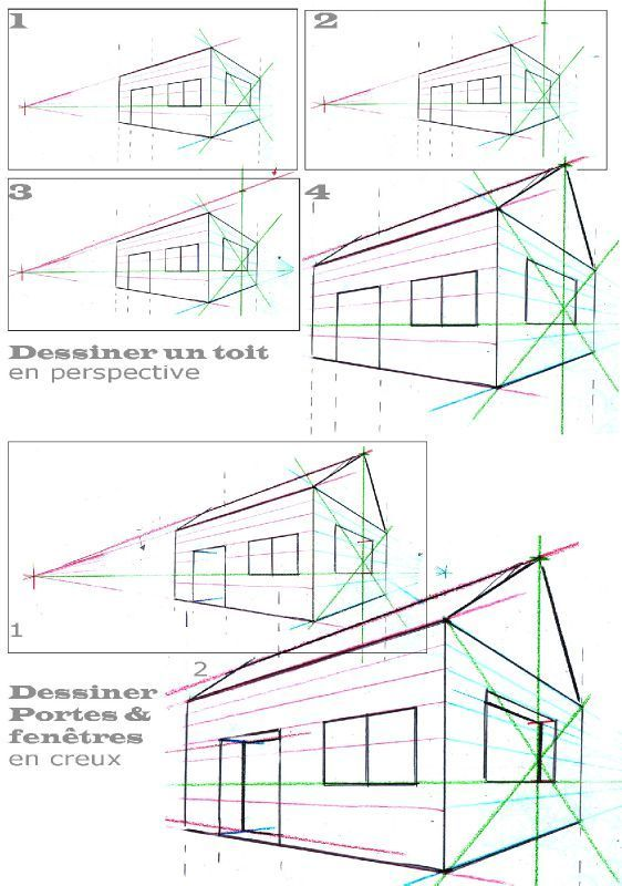 Perspective 2 points fuites toit et creux pp dp for Apprendre a dessiner une maison en 3d