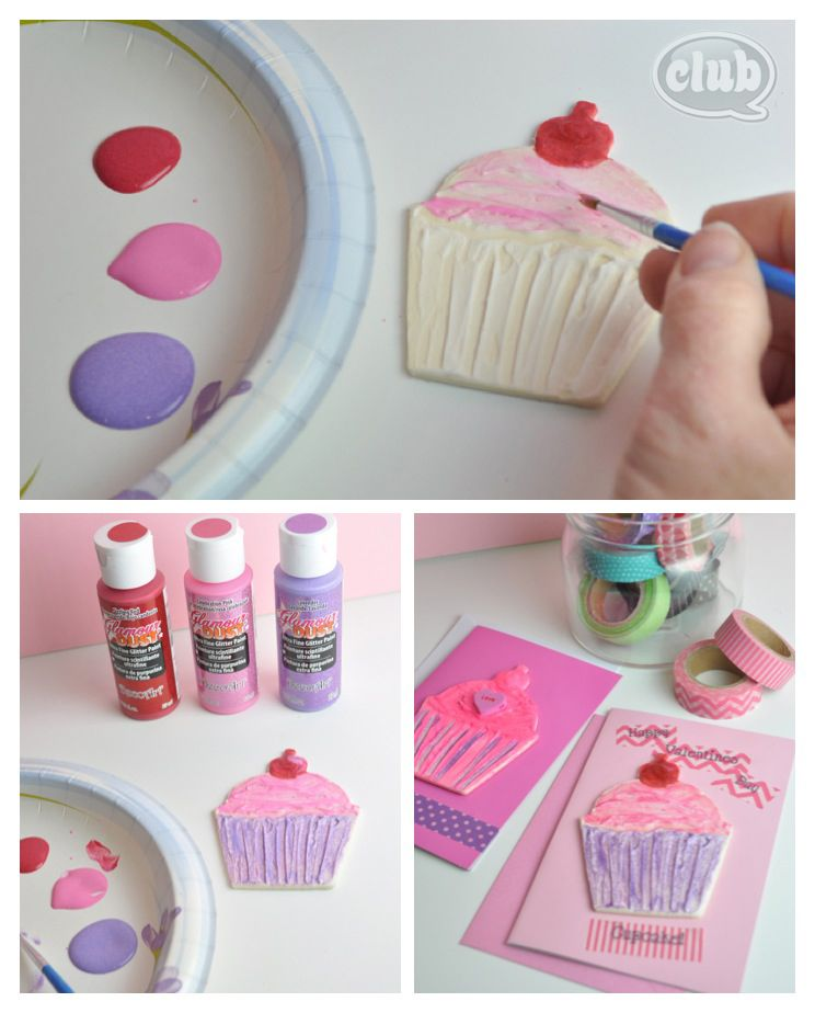 Cupcake valentines day card craft  paint wood cupcake shape with