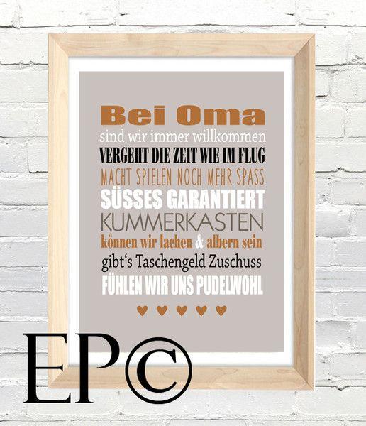 Bei Oma Print 21x30 5cm Von Wortspiele Made By Eazy Peazy