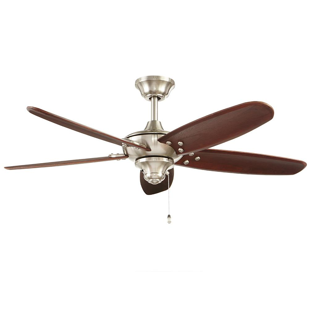 Home Decorators Collection Altura 48 In Indoor Outdoor Brushed Nickel Ceiling Fan Ceiling Fan Brushed Nickel Ceiling Fan Ceiling Fans Without Lights