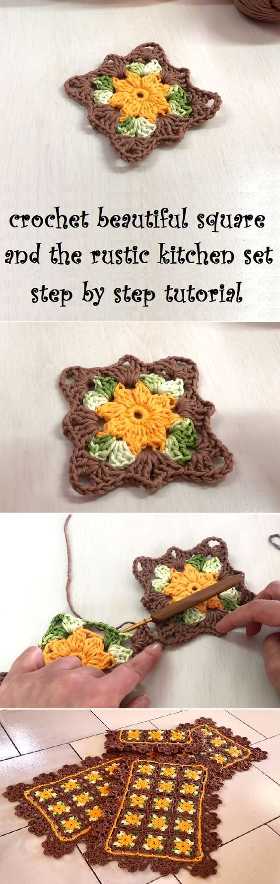 Crochet Beautiful Square and the Rustic Kitchen set using the square ...