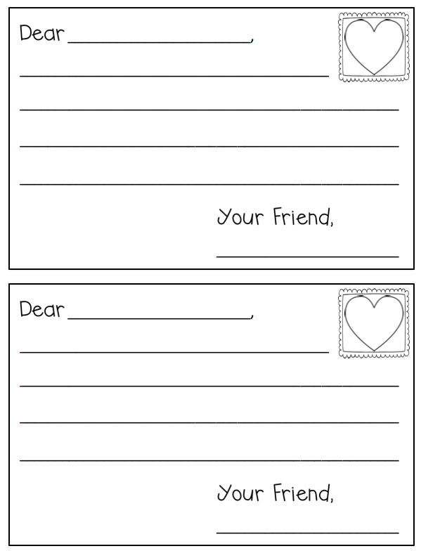 Writing a friendly letter printable for kids