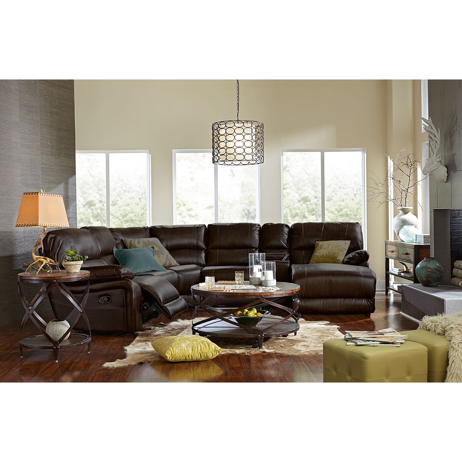 Wyoming Godiva 5 Pc Reclining Sectional Value City Furniture Furniture American Signature Furniture
