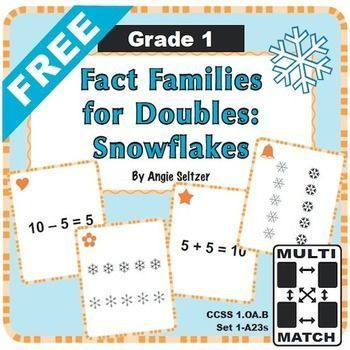 FREE Multi-Match Game Cards: Fact Families for Doubles. This ...