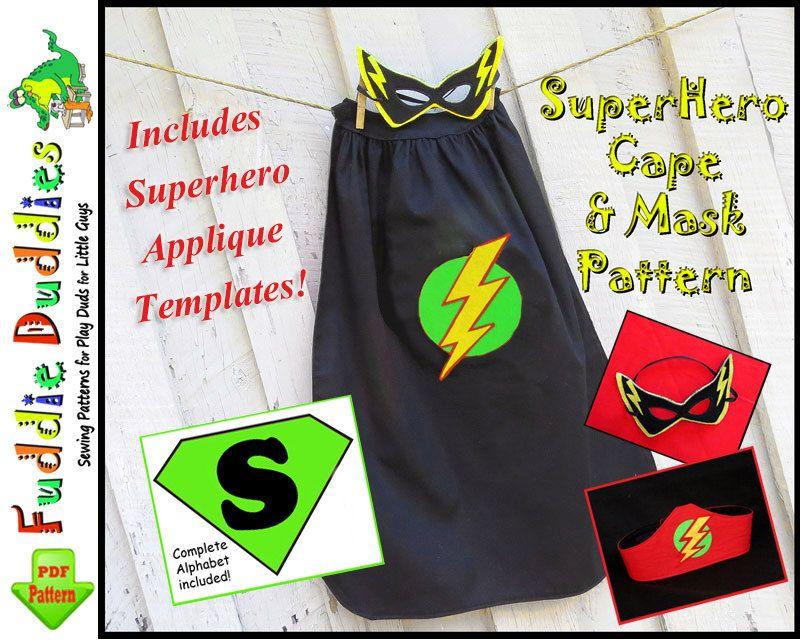 Sewing Patterns for Boys, Superhero Cape Pattern, pdf