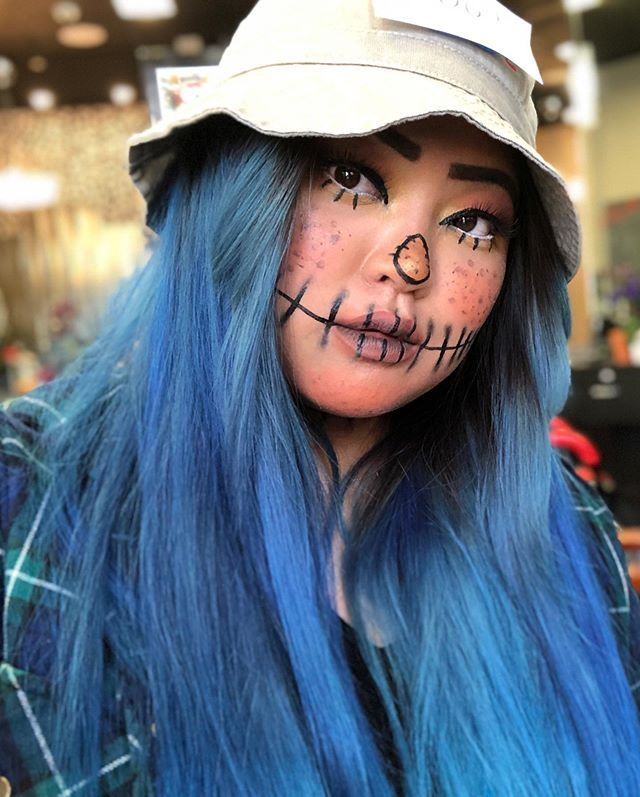 Happy Halloween  #scarecrow #makeup #Halloween #beauty #art #orange #bluehair #glam #salon...  Happy Halloween  #scarecrow #makeup #Halloween #beauty #art #orange #bluehair #glam #salon #fashion #chic #boo #scarecrowmakeup