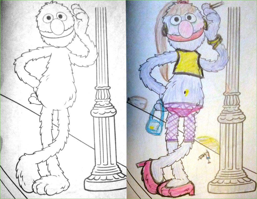 Illustration From Childrens Coloring Books That Have Been Twisted And Corrupted By Darkly Humorous Adult See More At Coloringbookcorrupti