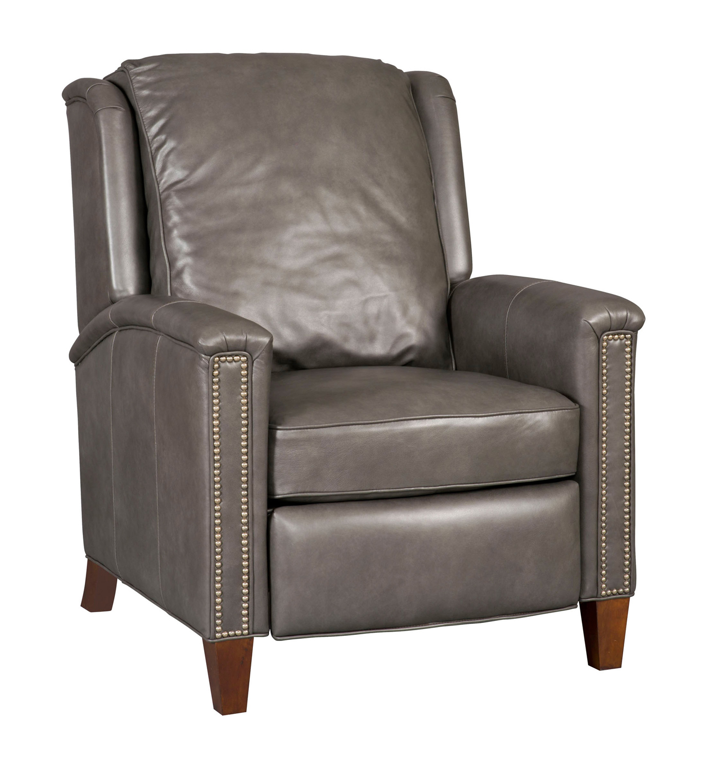 High Leg Leather Recliner Chair in Charcoal