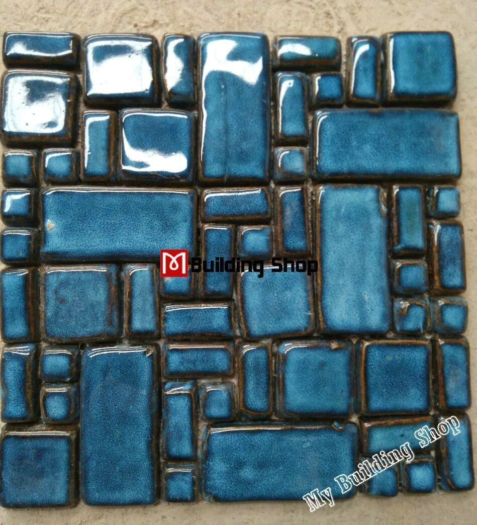 Hand Craft blue porcelain mosaic swimming pool tile PCMT068 ceramic ...