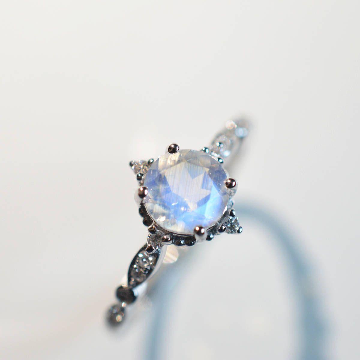 Moonstone Engagement Ring Blue 18k 14k Gold Wedding Antique Vintage Engagment