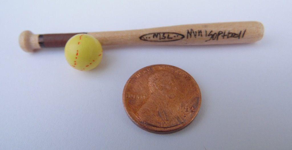 Dollhouse Miniature Softball Bat and Yellow Ball #EEW03Y