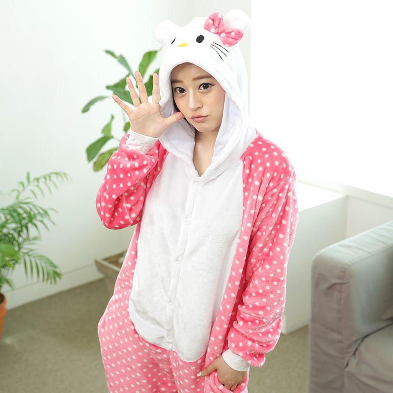 8df2162c2b Adult Pink Hello Kitty Cat Costume Onesie Animal Cosplay Costume Unisex  Women Flannel Pyjamas Hoodie Sleepsuit