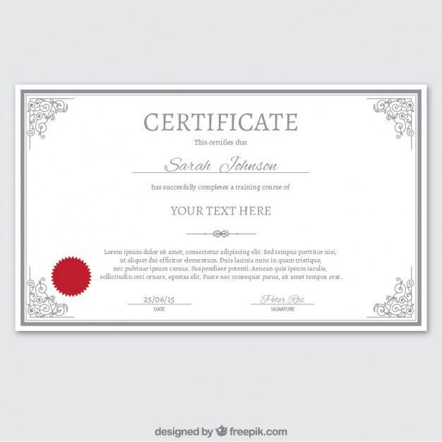 Certificate template in ornamental style Free Vector | Certificate ...