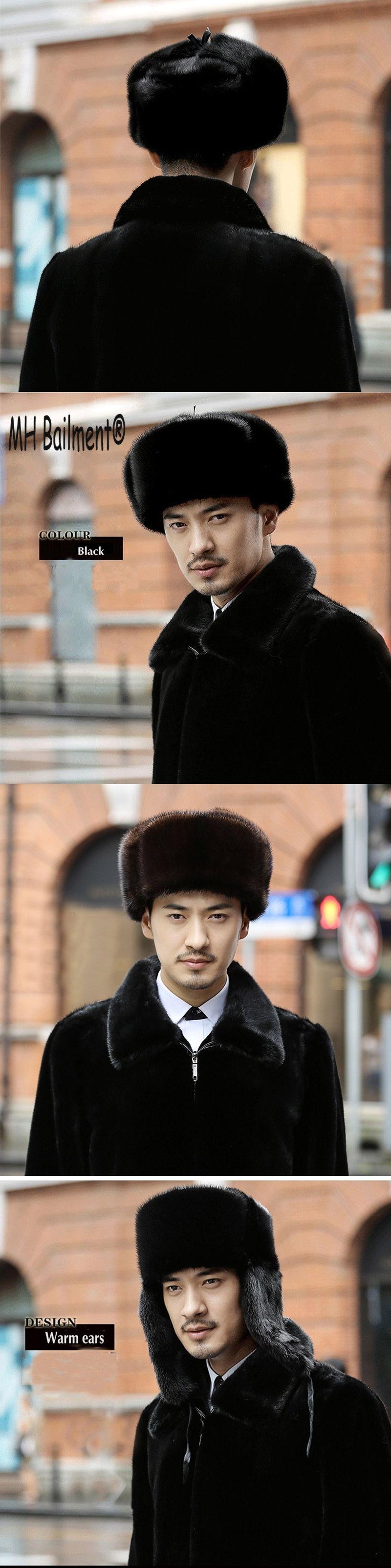 4aa902d1b8c 2017 Russian Men Real Mink Fur Hats Winter Warm Ear Outdoor luxury Caps  Casual Fur Bomber