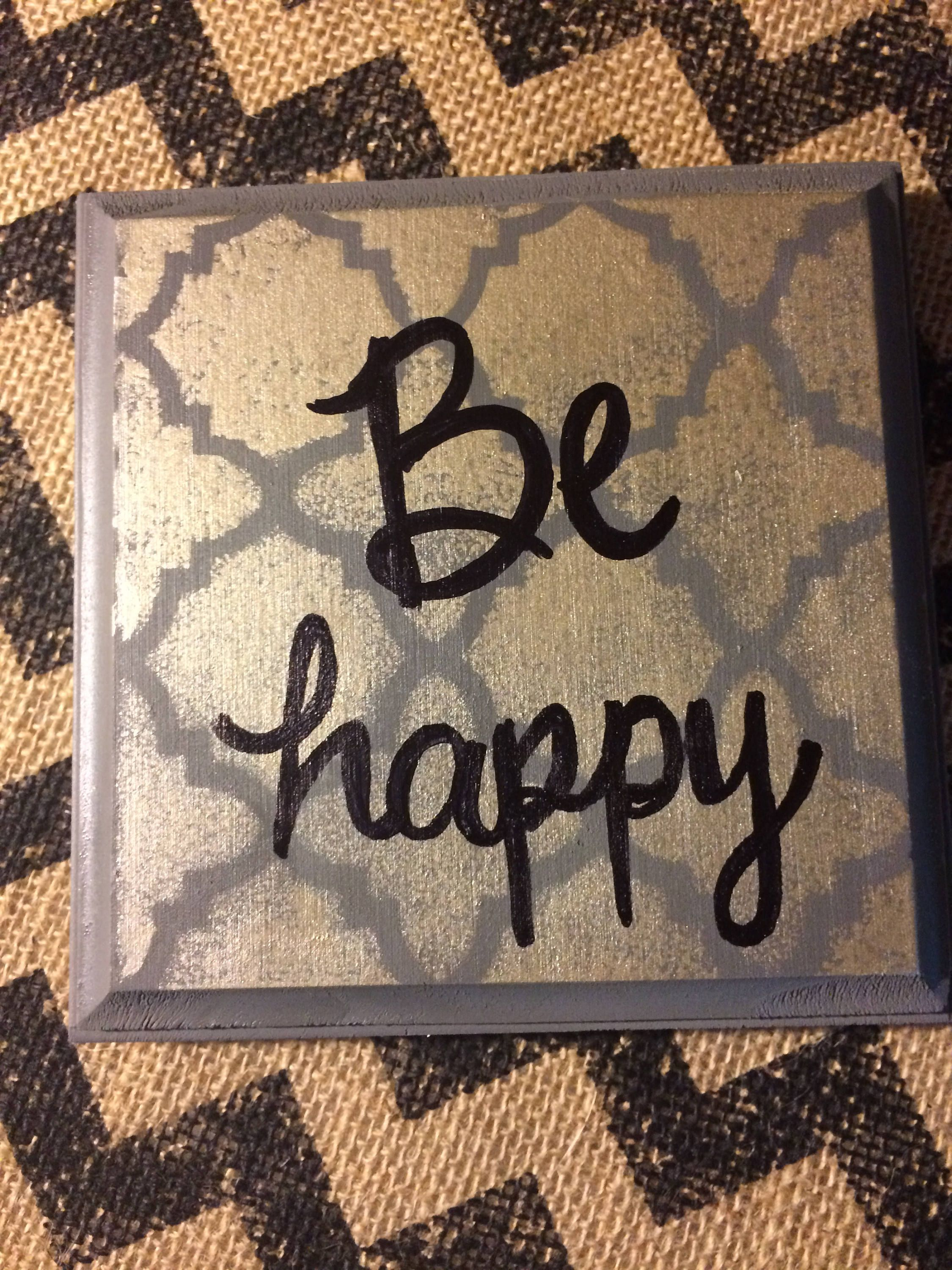 Be happy inspirational homemade wall art wood plaque wooden