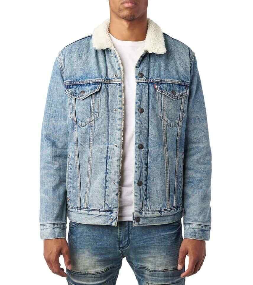 Levi S Size Large Mens Sherpa Jacket 16365 Blue Lined Classic Trucker Jean Coat Levis Jeanjacket Sherpa Lined Denim Jacket Sherpa Denim Lined Denim Jacket [ 965 x 856 Pixel ]