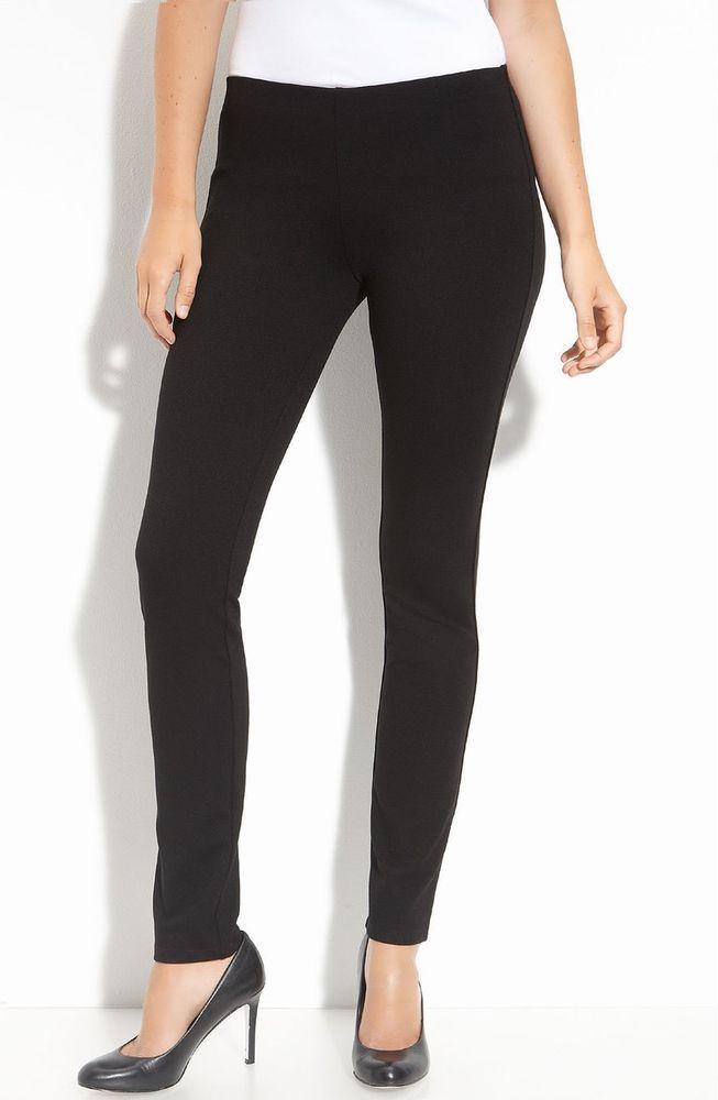 NWT Eileen Fisher Petites Stretch-Ponte Knit Slim Pants Black PM  | eBay