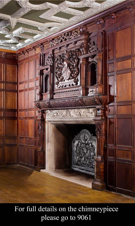 English Paneled Room: Antique English Country House Jacobean Oak Panelled Room