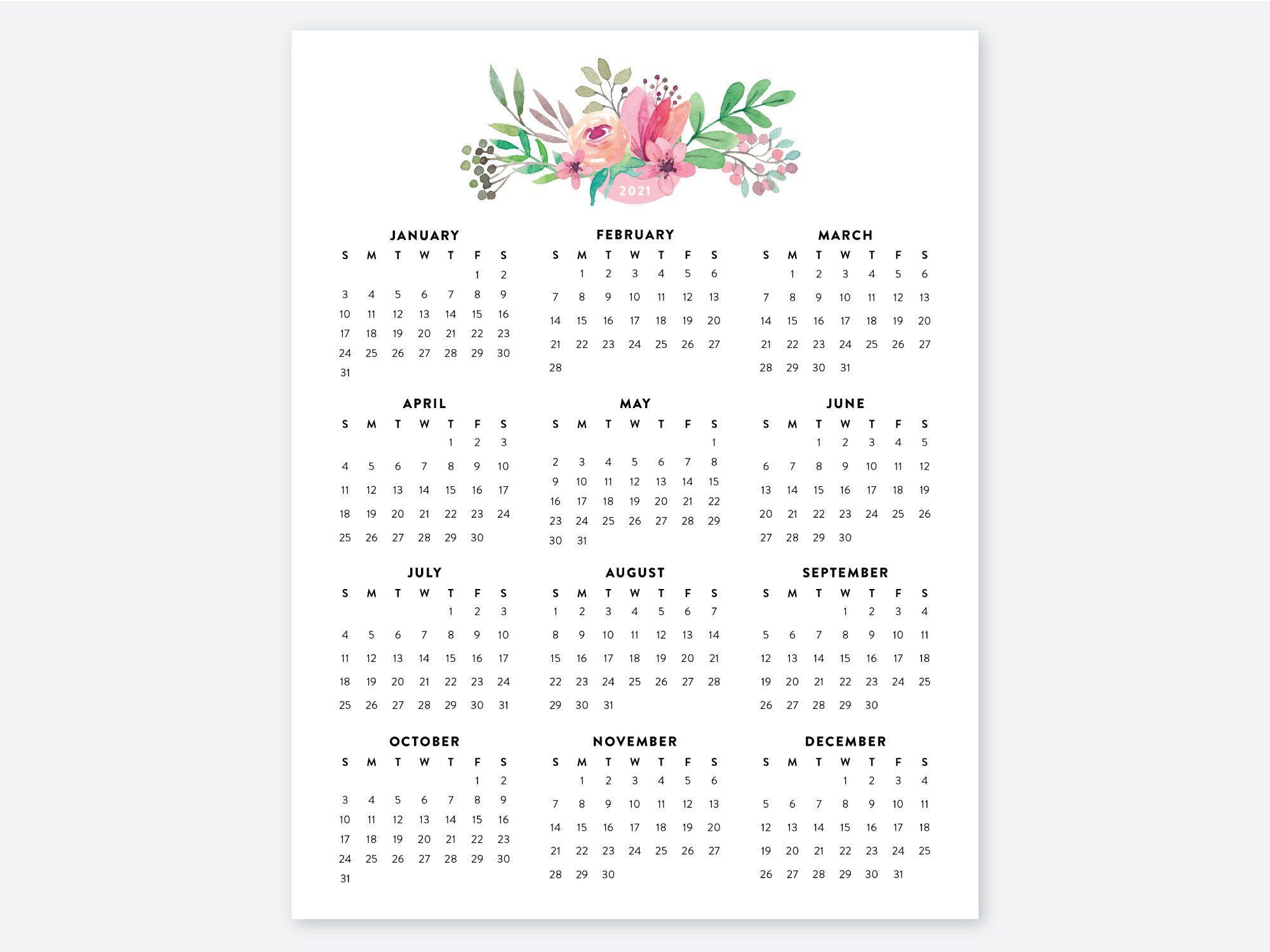 8.5x11 Calendar 2021 Year Calendar 2021 Calendars 2021 ...