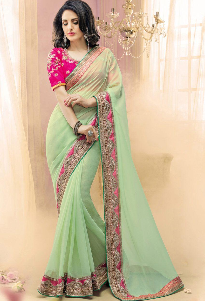 7ad205bc4d6 #Pastel #Green #Georgette Designer Saree #latest #newlyadded #dress #Saree  #sale #nikvik #usa #designer #australia #canada #sari