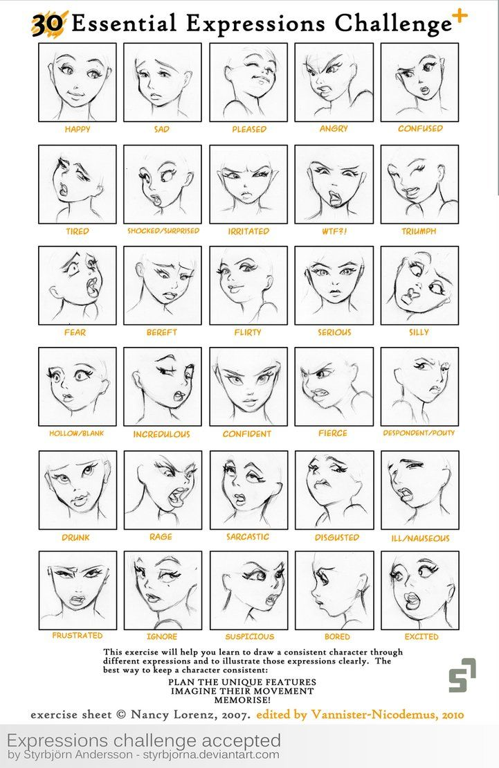 how to draw anime girls chart