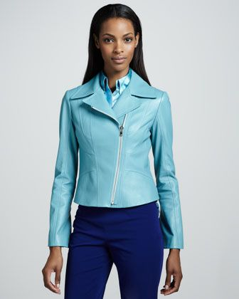Elie Tahari Mia Leather Jacket, Octavia Satin Blouse ...