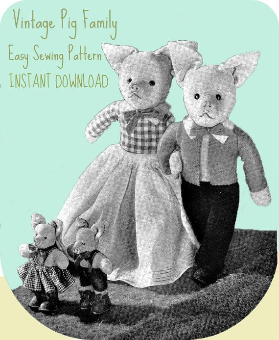 Vintage toy pattern / Pig Family / instant download / pdf/ sewing ...