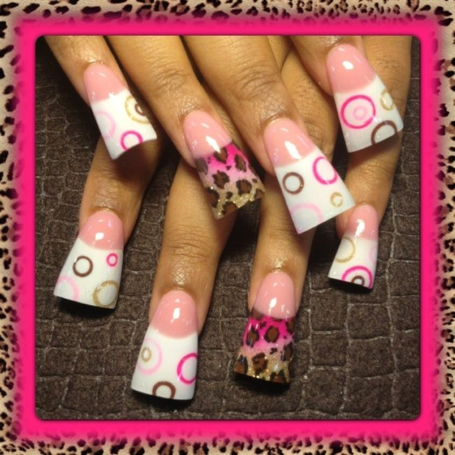 Pink leopard and circles - Nail Art Gallery | Nails | Pinterest ...