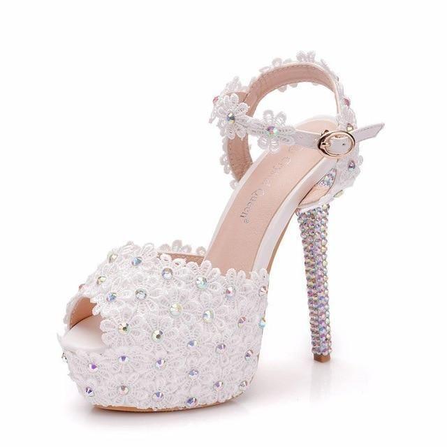 wedding shoes summer #wedding #shoes #weddingshoes Rhinestone Lace High Heels Wedding Sandals | Bridelily Bridelily.com#chicloth #bridelily #wedding #shoes #weddingshoes