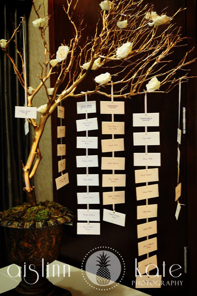hanging placecards  placecard tree  place cards  branch centerpiece