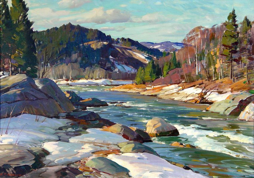 West River Vermont Aldro T Hibbard Oil On Canvas 29 X 40 Private Collection Landscape Paintings Oil Painting Landscape Landscape Art