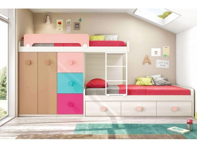 Lits superpos s enfant composition l201 glicerio chambres et mobiliers f - Lit superpose pour fille ...