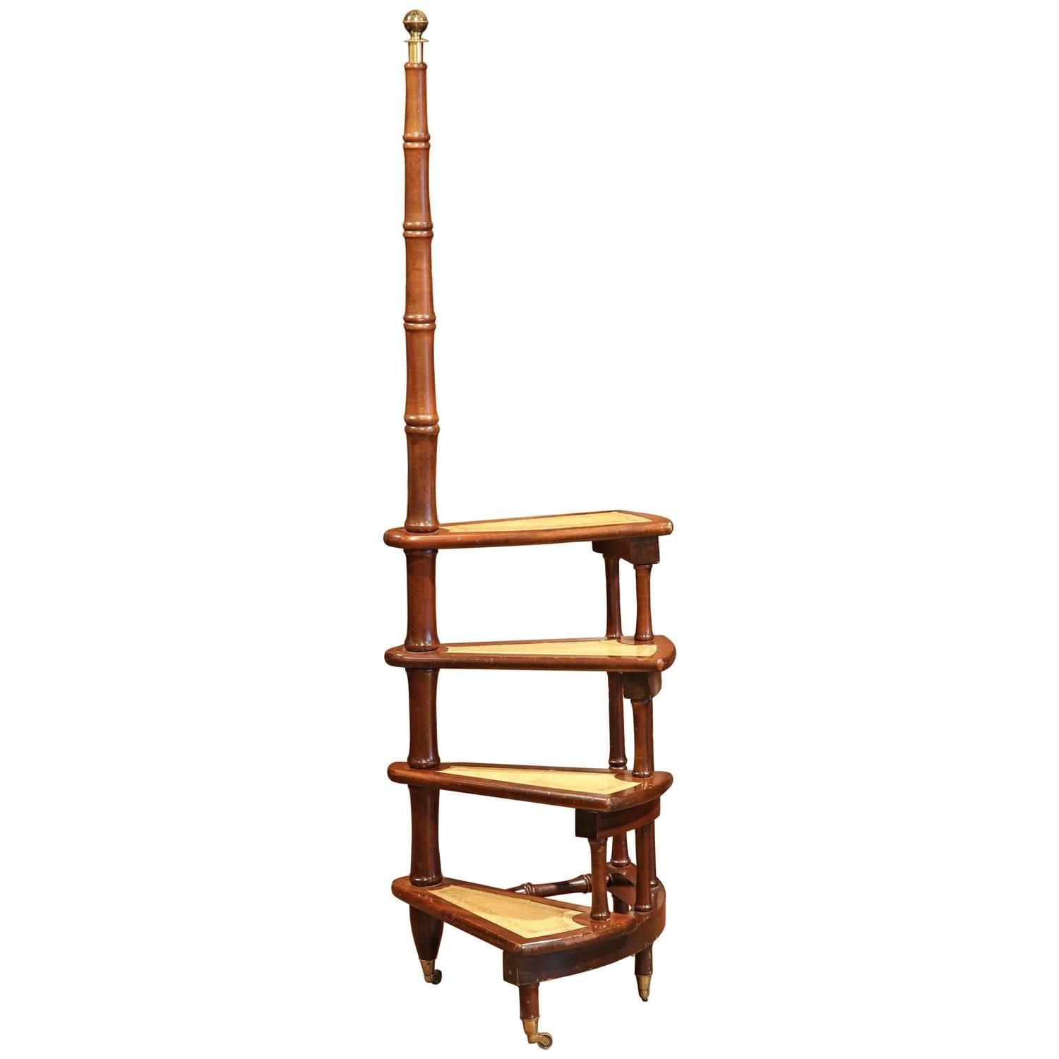 Mid 20th Century English Library Spiral Step Ladder With Four Leather Stairs Step Ladders Stairs English Library