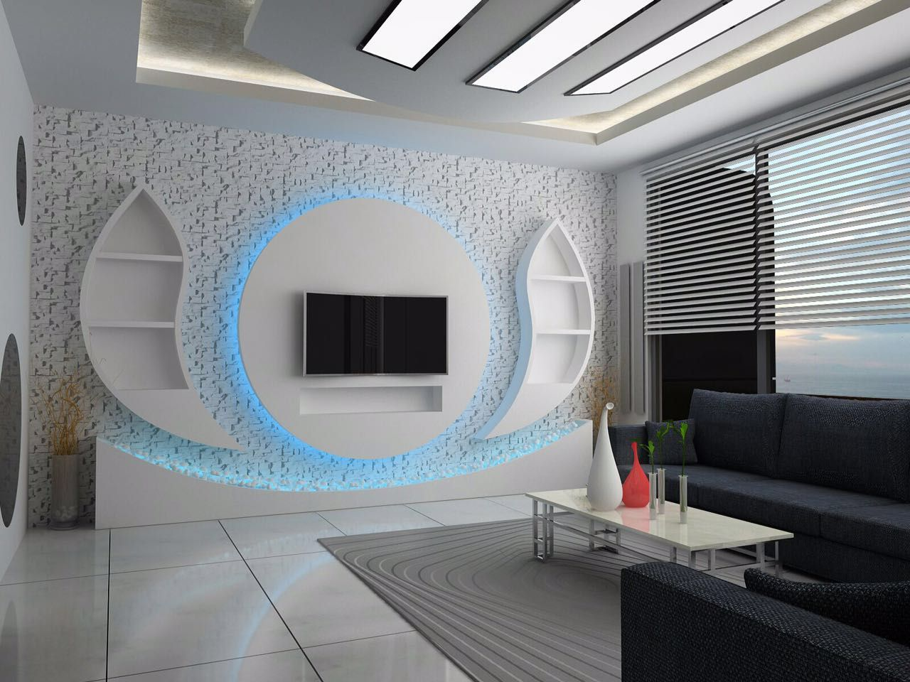 Pin By Leila Doski On Tv Unitesi Modern Tv Wall Units Ceiling Design Living Room Tv Wall