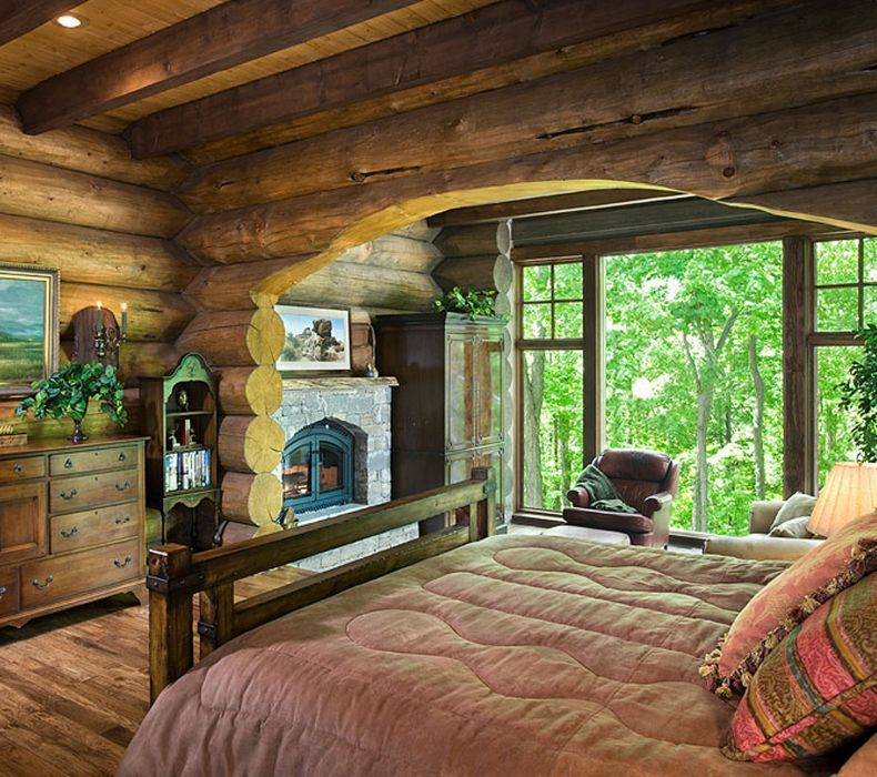 Log Cabin Bedroom: Log Cabin Bedroom... Arch And Fireplace Both Nice In The