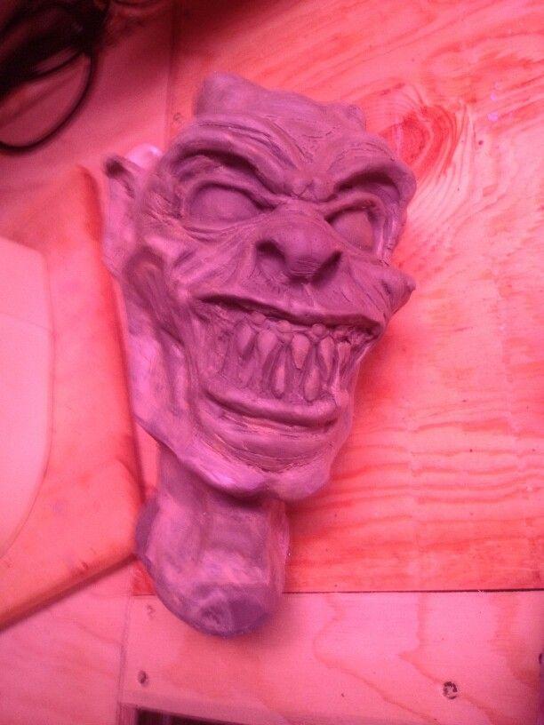 Clay sculpt of my little demon head... got a little beat up during demolding.