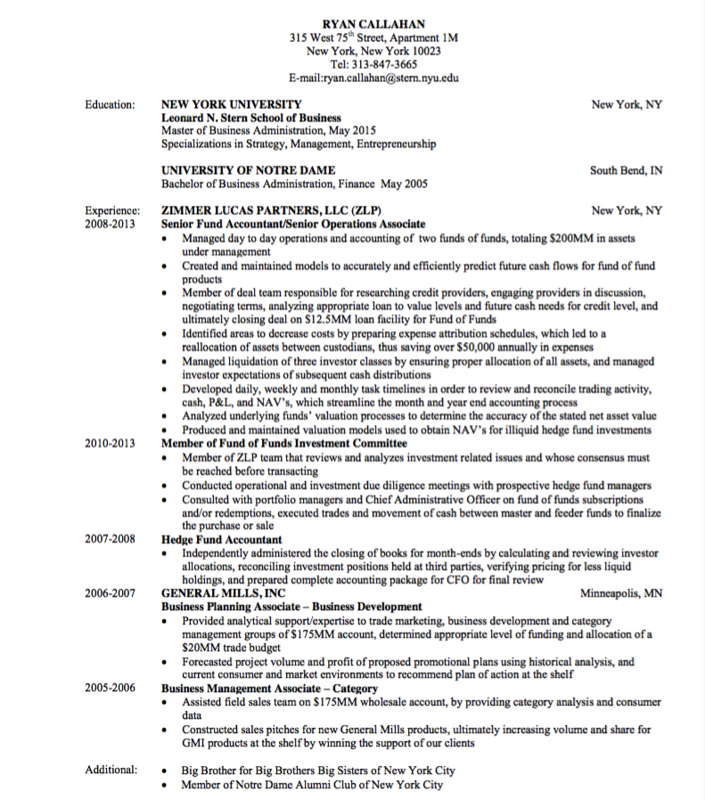 Hedge Fund Resume Samples Pin By Latifah On Example Cv