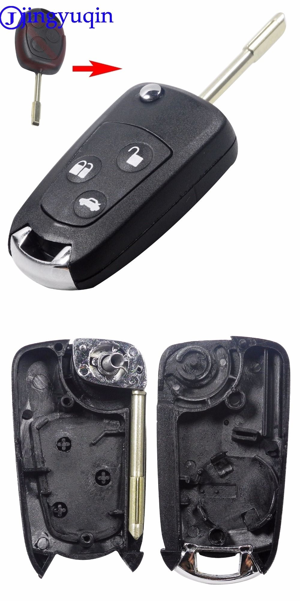 Jingyuqin  Buttons Refit Remote Folding Car Key Flip Shell Case Stying Cover For Ford Focus Ka Mondeo Uncut Blank Fob Auto Replacement Parts Pinterest