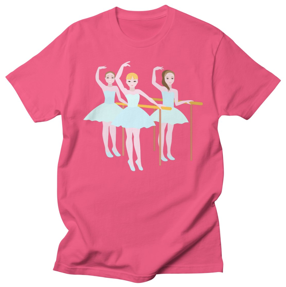 Young Ballet Girls in Dance Class Illustration