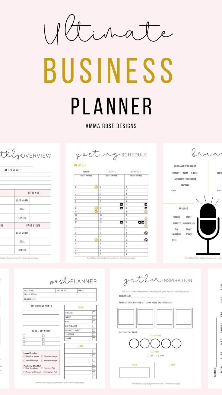 This planner - The Ultimate Business Planner - was designed out of my desire to stop feeling overwhelmed when it came to running my business and being desperate to have all of my notes + information all in one central location. This tool contains all of the key planning sheets you'll need to organize your business, shorten your to-do list, come up with a blog posting schedule & plan your social media content in advance - all in the same place! #businessplanner #businesstips #onlinebusiness