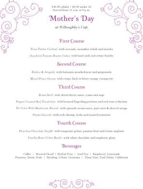 Mothers Day Family Menu | Mother's Day Menus