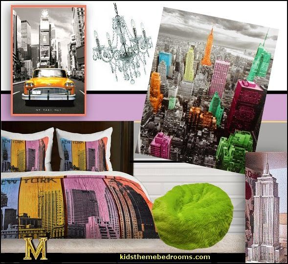 New York Theam Room Decor Colorful Fun Decorating Ideas Themed Bedroom
