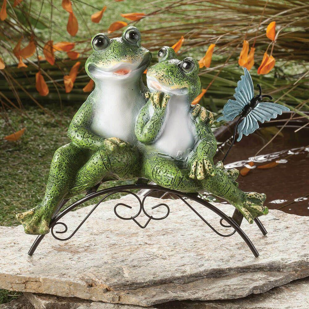 Frog Couple Garden Statue Sculpture Whimsical Sitting 3 D Figurine Lawn Decor Lawn Decor Garden Statues Garden Frog Statue