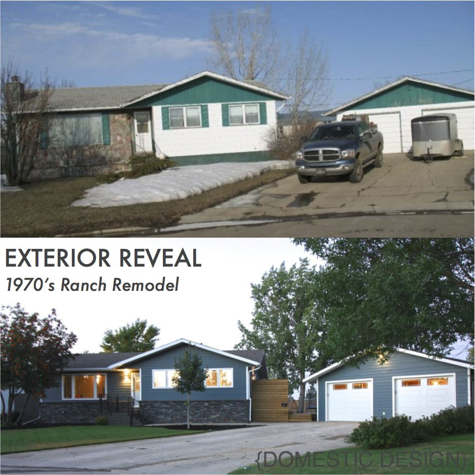 1970 39 s ranch bungalow exterior makeover complete remodel for Remodel outside of house