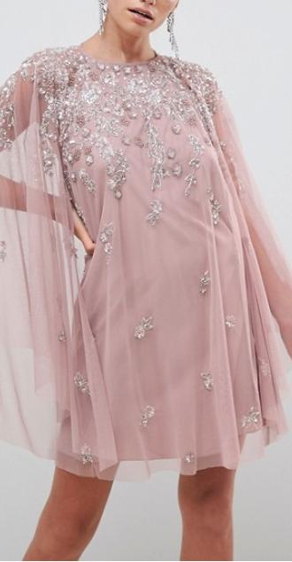 Dusty Pink Crystal Embellished Cape Mesh Dress Mesh Dress Fashion