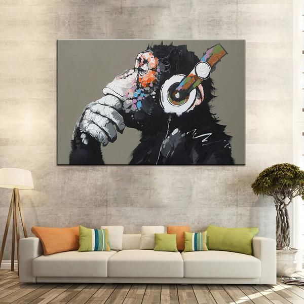75 X 50cm Unframed Abstract Canvas Print Wall Art Picture DJ MONKEY Chimp
