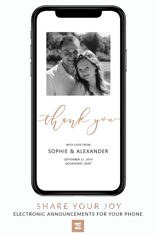 Electronic Wedding Thank You Cards Digital Wedding Thank You Card